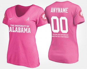 Alabama Roll Tide #00 For Women Customized T-Shirts Pink College With Message 588011-174