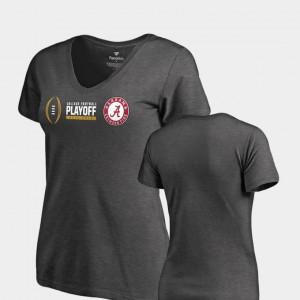 Alabama Roll Tide For Women T-Shirt Heather Gray Cadence V-Neck 2018 College Football Playoff Bound Stitch 818607-657