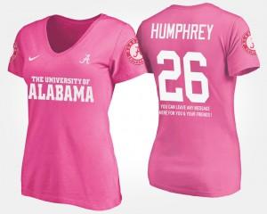 Roll Tide #26 Womens Marlon Humphrey T-Shirt Pink With Message Stitch 487275-452