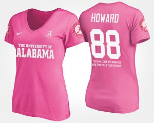 University of Alabama #88 For Women O.J. Howard T-Shirt Pink With Message Player 241336-723
