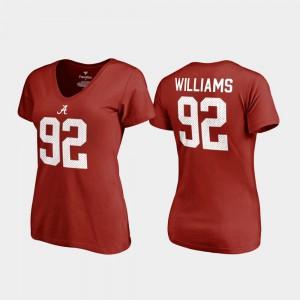 Alabama Crimson Tide #92 For Women Quinnen Williams T-Shirt Crimson V-Neck Name & Number College Legends Alumni 615174-493