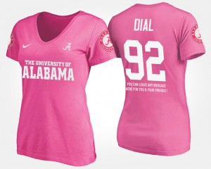 Alabama Roll Tide #92 For Women's Quinton Dial T-Shirt Pink Embroidery With Message 418265-909