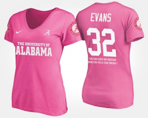 University of Alabama #32 Ladies Rashaan Evans T-Shirt Pink With Message Embroidery 898099-715