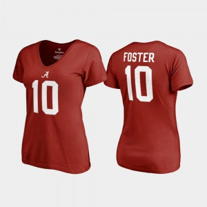 Roll Tide #10 For Women's Reuben Foster T-Shirt Crimson Stitched Name & Number College Legends 841525-728