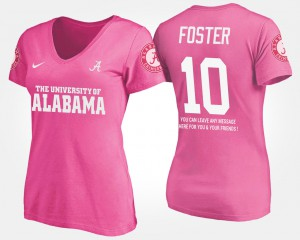 Bama #10 For Women's Reuben Foster T-Shirt Pink Stitch With Message 300291-950