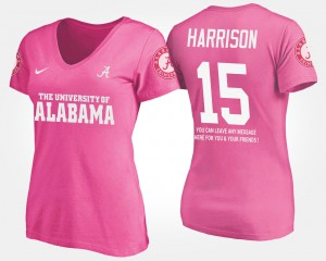 Bama #15 For Women's Ronnie Harrison T-Shirt Pink With Message Embroidery 147551-741