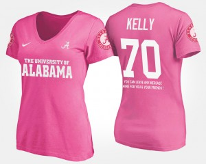 Bama #70 Women's Ryan Kelly T-Shirt Pink With Message Embroidery 809000-285