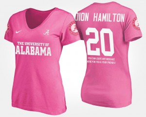 Bama #20 Ladies Shaun Dion Hamilton T-Shirt Pink Stitched With Message 909072-602