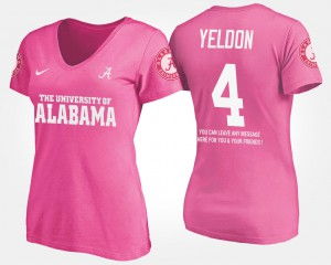 Roll Tide #4 Women's T.J. Yeldon T-Shirt Pink Embroidery With Message 538975-129