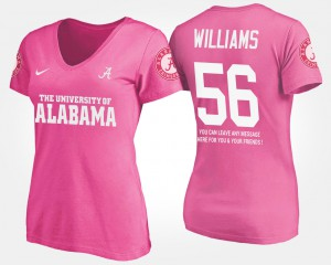 University of Alabama #56 Womens Tim Williams T-Shirt Pink With Message NCAA 699518-819