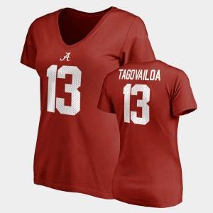 Roll Tide #13 Womens Tua Tagovailoa T-Shirt Crimson Stitch Name & Number V-Neck College Legends 536622-112