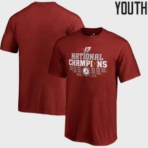 Bama Youth T-Shirt Crimson Player Bowl Game College Football Playoff 2017 National Champions Multi Kick 374766-889