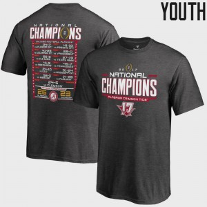 Alabama Crimson Tide For Kids T-Shirt Heather Gray College Football Playoff 2017 National Champions Schedule Bowl Game Embroidery 156786-166