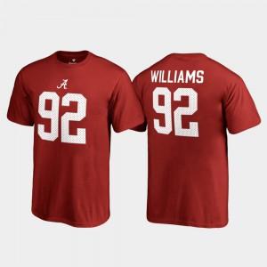 Alabama Roll Tide #92 Kids Quinnen Williams T-Shirt Crimson Official Name & Number College Legends 662664-623